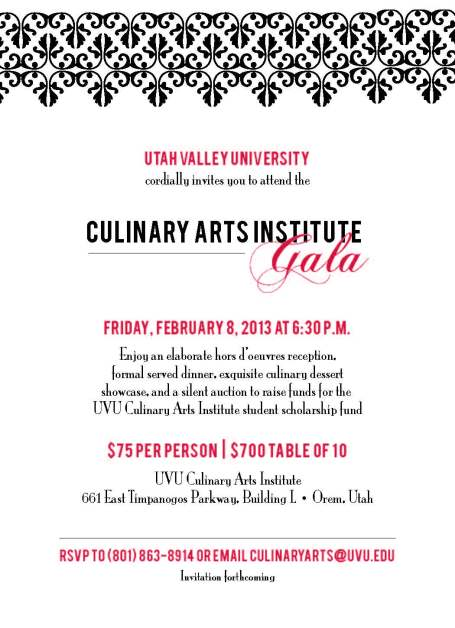 UVU Culinary Arts Gala Invitation